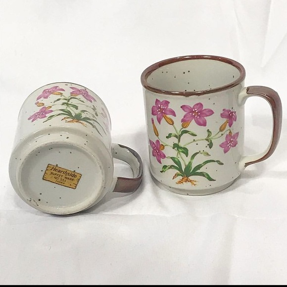 Vintage Floral Speckled Stoneware Mug Set of 2